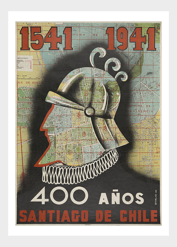 400 Años Santiago de Chile Vintage Travel South America Poster Digital Download