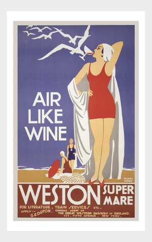 Air Like Wine Weston Super Mare Art Deco Bathing Beach Vintage Travel Poster Digital Download