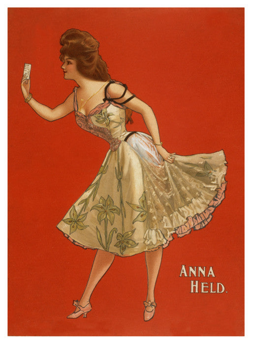 Actress Singer Anna Held Vintage Red Women Flowy Dress Big Hair Poster Print Digital Download