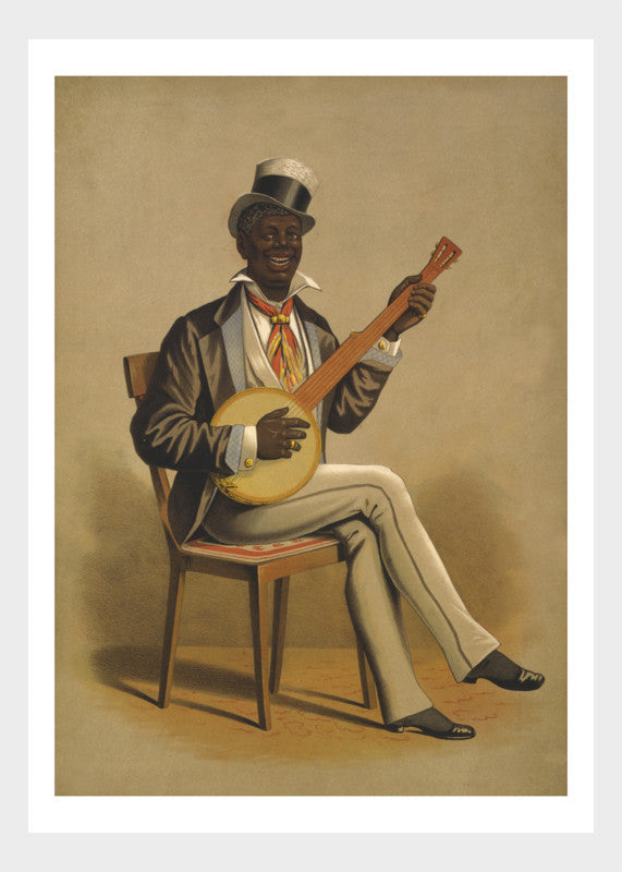 Afircan American Music Banjo Musician Vintage Print Digital Download