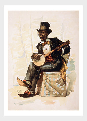 Black American Musician Playing The Banjo Digital Download