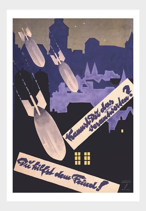German WWII Propaganda Poster Bombs At Night War Military Digital Download