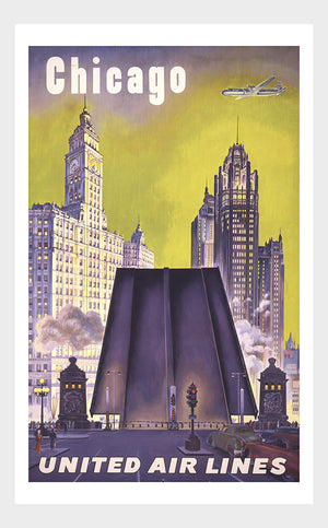 Visit Chicago Travel Poster Digital Download