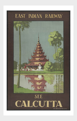 East Indian Railway See Calcutta Vintage Travel Poster South Asia Digital Download