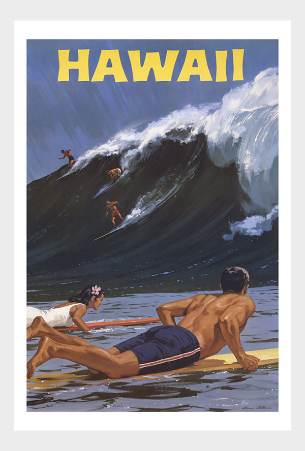 Hawaii Surf's Up Vintage Travel Poster Beach Surfing Waves Digital Download