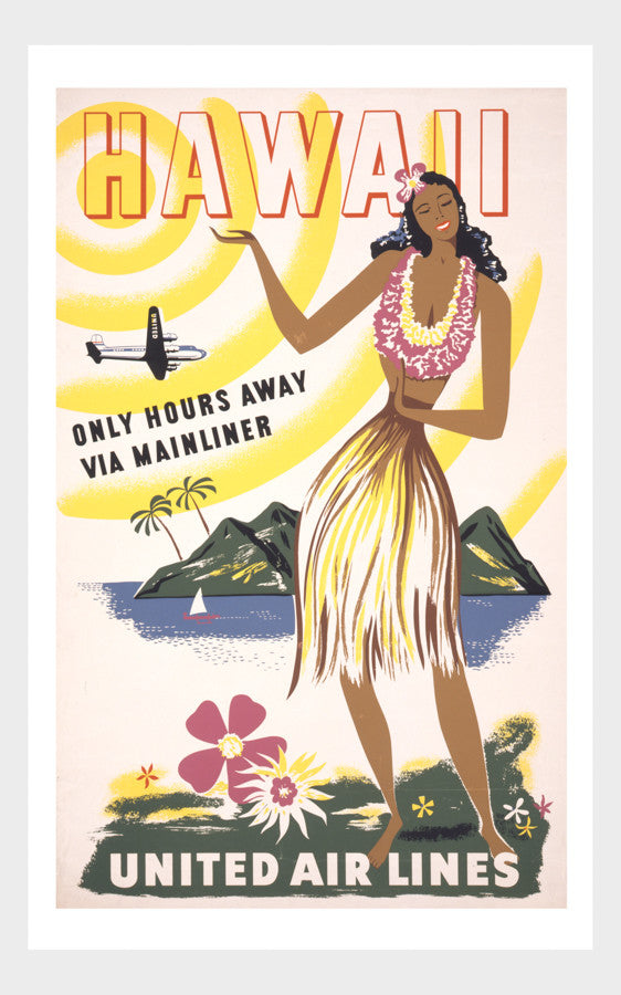 Visit Hawaii Hula Girl Airline Travel Poster Digital Download