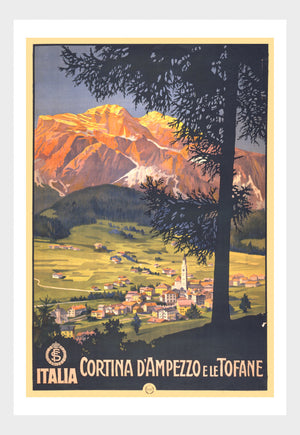 Italia Cortina D'Ampezzo Italy Travel Poster Digital Download