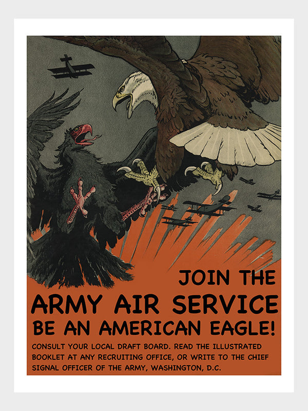 Be an American Eagle : Join the Army Air Service WWI War Recruitment Poster Digital Download