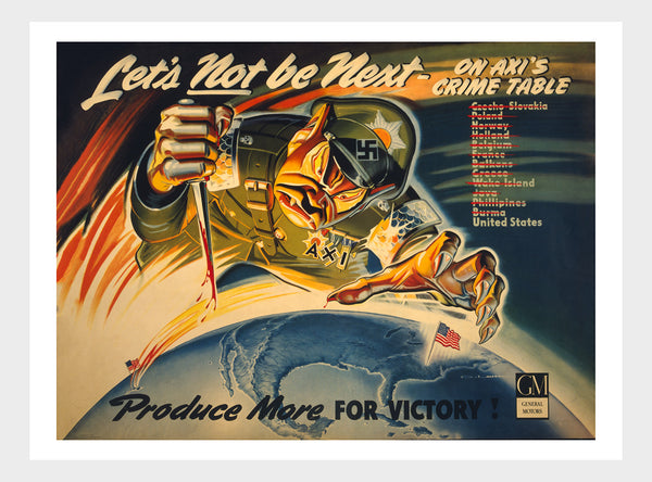 Let's Not Be Next WWII Propaganda Poster Digital Download