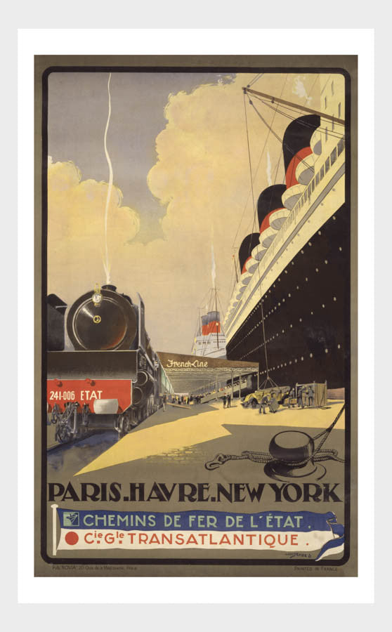 Transatlantique Ocean Liner Paris Harve NewYork Travel Poster Digital Download