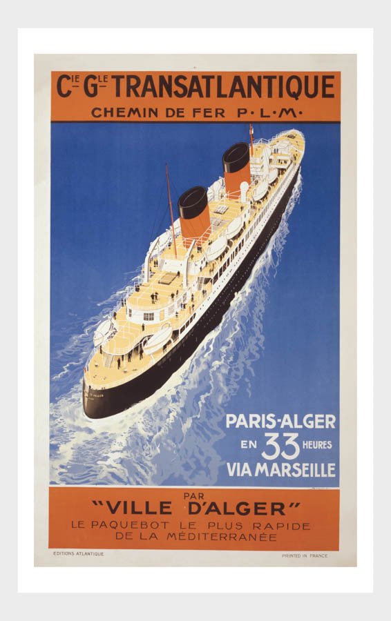 Transatlantique Ocean Liner Vintage Travel Poster Digital Download