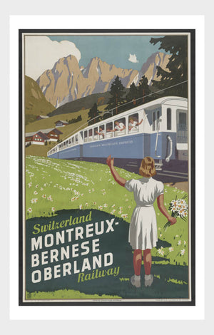 Switzerland Montreux-Bernese Oberland Travel Poster Digital Download