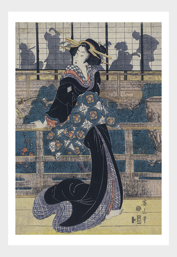 Japanese Theater Lady Woodblock Print Digital Download