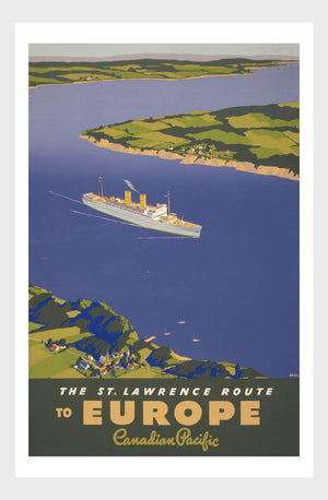 Saint Laurence Route To Europe Canadian Pacific Ocean Liner Travel Poster Digital Download