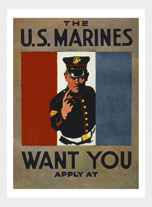 WWI US Marines Wants You Recruitment Poster Military Digital Download