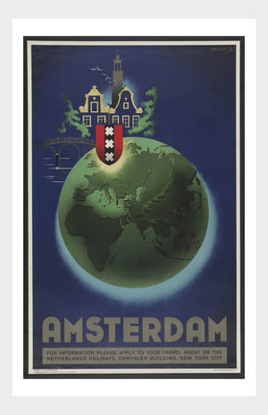 Visit Amsterdam Netherlands Travel Poster Digital Download