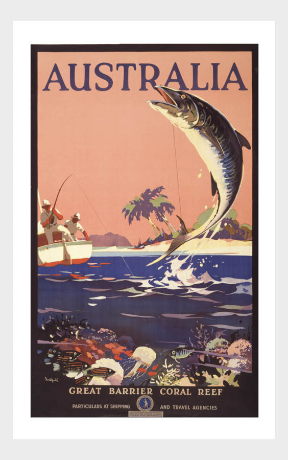 Visit Australia Great Barrier Coral Reef Travel Poster Digital Download