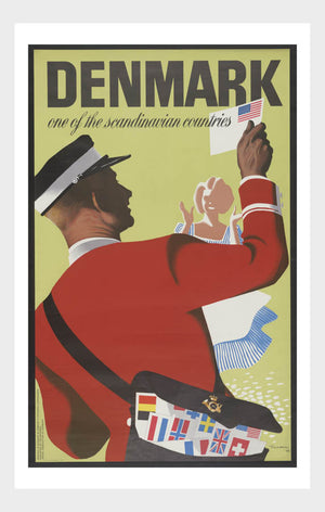 Visit Denmark Mail Man Travel Poster Digital Download