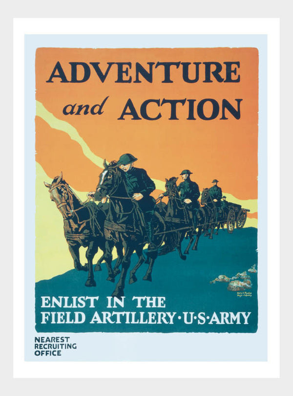 WWI Adventure Action Field Artillery Recruitment Poster Digital Download