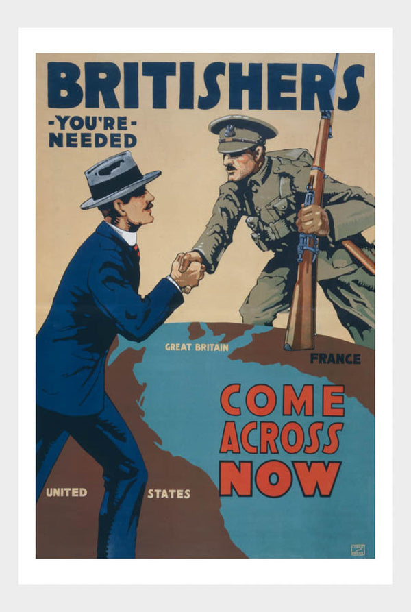 Britishers You're Needed Come Across Now Recruitment Poster Digital Download