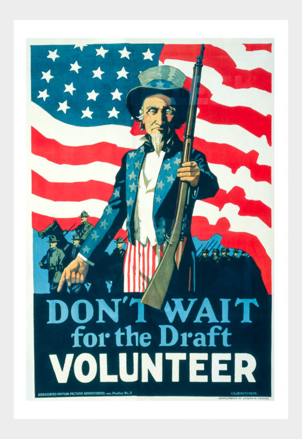 WWI Don't Wait For The Draft Volunteer Recruitment Poster Digital Download