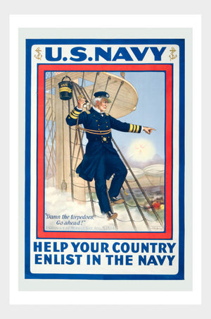 WWI Enlist In The Navy Recruitment Poster War Military Digital Download