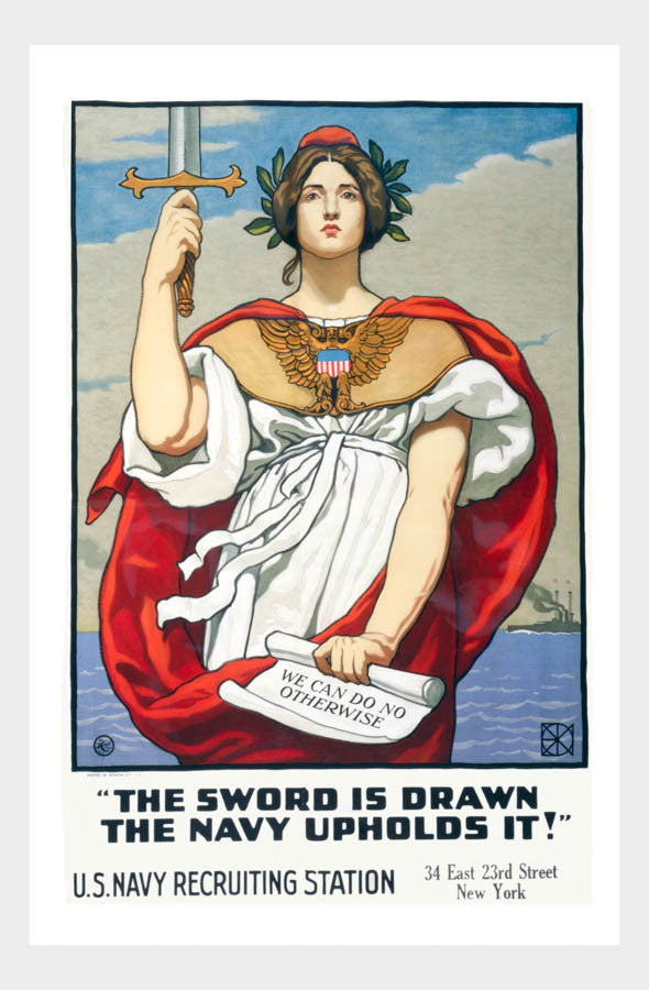 WWI Navy Recruiting Sword Is Drawn War Poster Military Digital Download