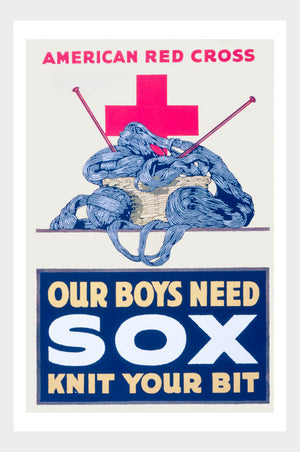 WWI Our Boys Need Sox Knit Your Bit War Poster Military Digital Download