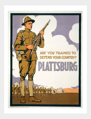 "WWI Plattsburg ""Are You Trained To Defend Your Country?"" War Poster Military Digital Download"