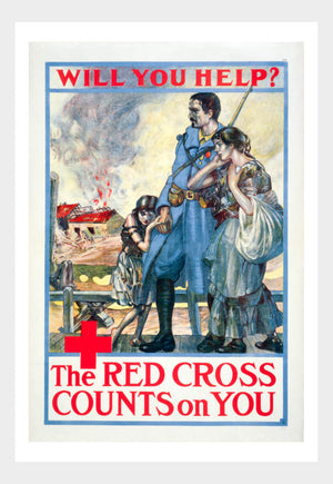 WWI Red Cross Counts On You War Poster Military Digital Download