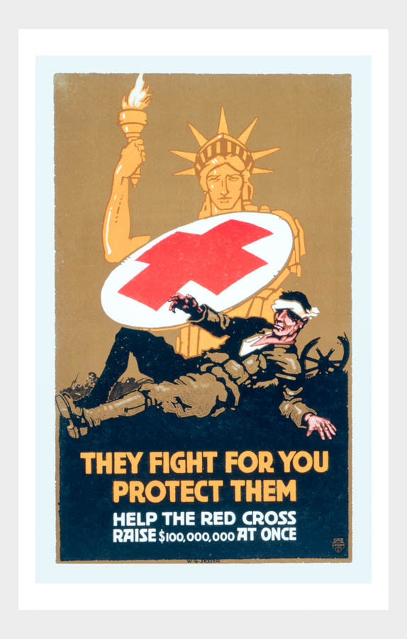 "WWI Red Cross ""They Fight For You, Protect Them"" War Poster Military Digital Download"