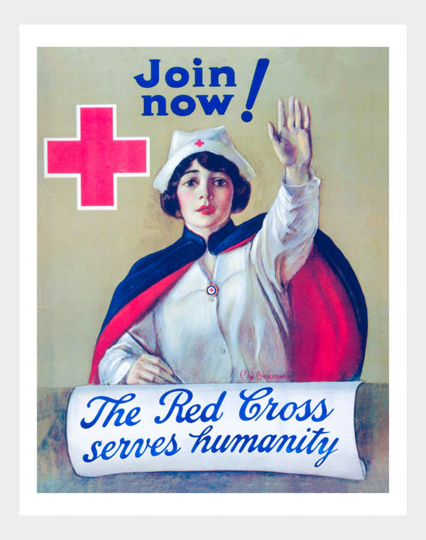 WWI Red Cross Serves Humanity War Poster Military Digital Download
