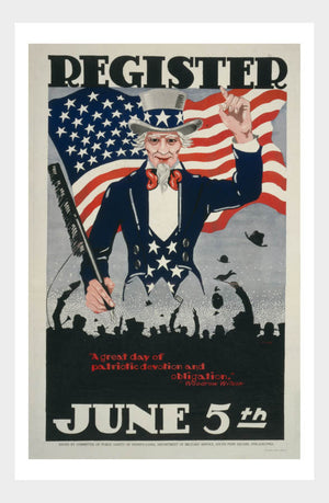 WWI Register June 5th Recruitment War Poster Military Digital Download