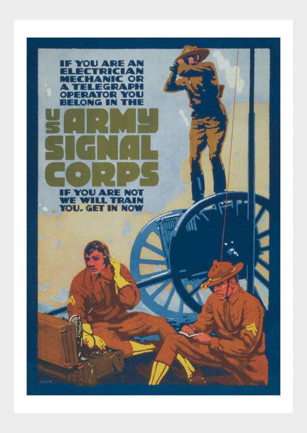 WWI US Army Signal Corps War Poster Military Digital Download