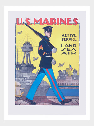 WWI US Marines Active Service Land Sea Air War Poster Military Digital Download