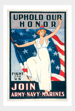 WWI Uphold Our Honor Lady Liberty Recruitment War Poster Military Digital Download