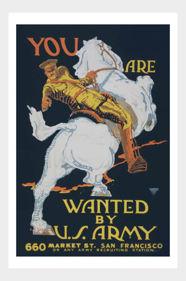 WWI Wanted US Army Horse War Poster Military Digital Download