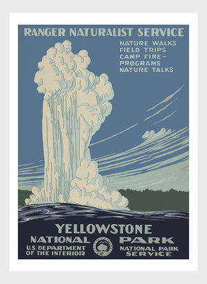 Old Faithful Yellowstone National Park Ranger Naturalist Service Poster Digital Download