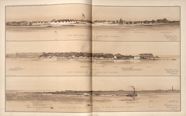 "American Civil War Map: ""Views of Fort Moultrie, Fort Johnson, Morris Island, Cumming's Point"" Digital Download"