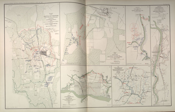 "American Civil War Map: ""Corinth, Mississippi; Fredericksburg, Virginia; Bayou Fourche, Arkansas ; Wilmington, North Carolina"" Digital Download"
