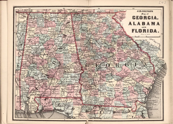 American Civil War Chronological Map: 3/8 Georgia, Alabama and Florida Digital Download