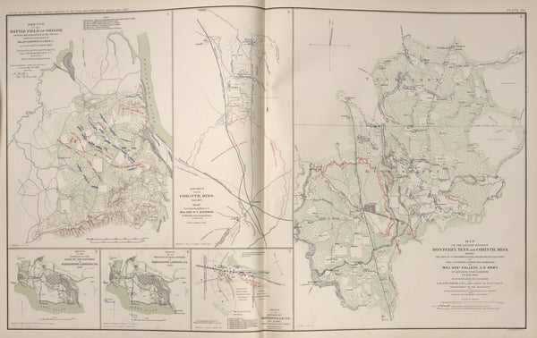 "American Civil War Map: ""Corinth, Mississippi ; Shiloh & Monterey Tennessee; Harrison's Landing, Virginia"" Digital Download"
