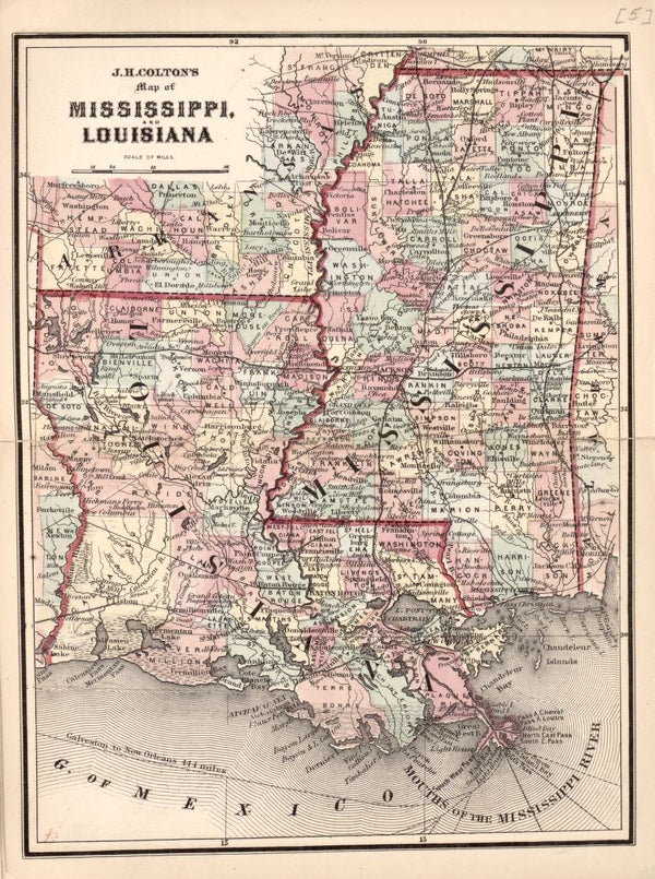 American Civil War Chronological Map: 4/8 Mississippi & Louisiana Digital Download