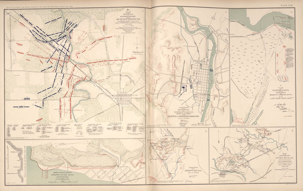 "American Civil War Map: ""Stone's River, Murfreesborough, Fredericksburg, Sabine Pass, Little Rock, Grand Gulf"" Digital Download"