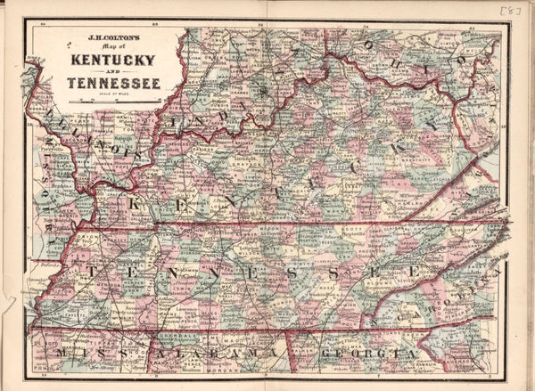 American Civil War Chronological Map: 7/8 State of Kentucky and Tennessee Digital Download