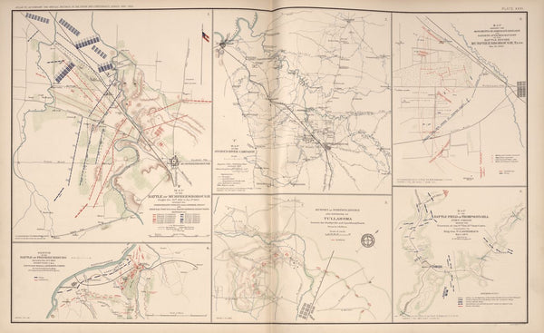 "American Civil War Map: ""Murfreesborough, Tennessee; Thompson's Hill, Port Gibson ;Tullahoma; Fredericksburg, Virginia"" Digital Download"