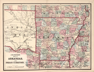 American Civil War Chronological Map: 6/8 State of Arkansas and Indian Territory Digital Download
