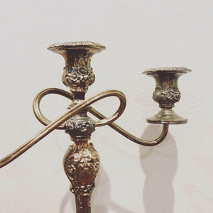 Vintage Silver Plated Three Candle Stick Lumière Candelabra