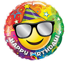 "18"" Happy Birthday Smiley with Sunglasses"