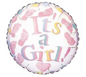 "18"" It's a Girl Baby Footprints"